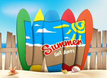 Summer Get Away Concept in the Seashore of the Beach Stock Images