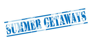 Summer getaways blue stamp. Isolated on white background Stock Photo