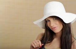 Summer gir in white hat Stock Image
