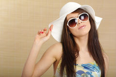 Summer gir in white hat Royalty Free Stock Images
