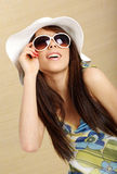 Summer gir in white hat Royalty Free Stock Image