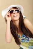 Summer gir in white hat Royalty Free Stock Image