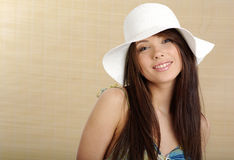 Summer gir in white hat Royalty Free Stock Photos