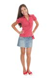 Summer girl. In full length in red isolated on white background. Beautiful mixed race chinese / caucasian model Stock Images