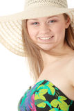 Summer girl. Beautiful Fashion Model Wearing A Retro Summer Hat, isolated Royalty Free Stock Photography