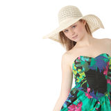 Summer girl. Beautiful Fashion Model Wearing A Retro Summer Hat, isolated Stock Image
