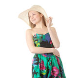 Summer girl. Beautiful Fashion Model Wearing A Retro Summer Hat, isolated Royalty Free Stock Photos