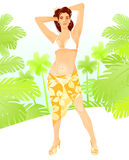 Summer girl. Summer girl in bikini on the beach with palms Stock Photography
