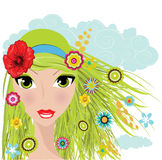 Summer girl. With green hair illustration background Royalty Free Stock Images