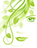 Summer girl. Beautiful abstract face with green leaves Stock Images