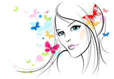 Summer girl. Sketch of a beautiful young woman and butterflies Stock Photos