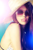 Summer girl. With glasses and sun-hat Royalty Free Stock Image