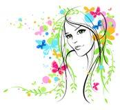 Summer girl. Beautiful summer girl with butterflies Stock Image