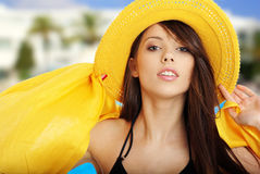Summer girl. In sun  resort Royalty Free Stock Image