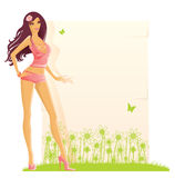 Summer girl with banner for text Royalty Free Stock Photography