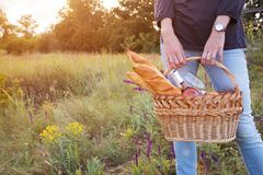 Picnic in the meadow. Summer - Girl with a basket goes on a picnic Stock Photo