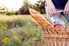 Picnic in the meadow. Summer - Girl with a basket goes on a picnic Royalty Free Stock Photos