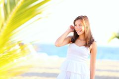 Summer girl on beach Stock Images