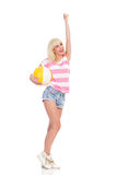 Summer girl with a beach ball Royalty Free Stock Images