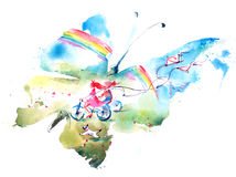 Summer. Girl on a bicycle like a butterfly Royalty Free Stock Photography