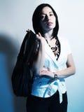 Summer girl in blue light Royalty Free Stock Photos