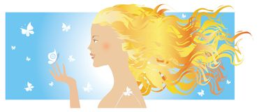 Summer girl and butterflies royalty free stock photos