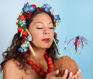 Summer girl with coconut Royalty Free Stock Photo
