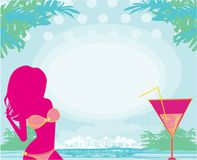 Summer girl and coctail on the background of sea and palm trees. Vector Illustration Stock Photography