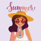 Summer girl drinking a cocktail. Cartoon vector illustration. Royalty Free Stock Photo