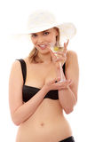 Summer girl drinking martini Stock Photos