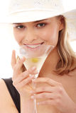 Summer girl drinking martini Royalty Free Stock Photo