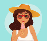 Summer girl eating a ice-cream. Cartoon vector illustration. Stock Photography