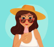 Summer girl eating a ice-cream. Cartoon vector illustration. Royalty Free Stock Images