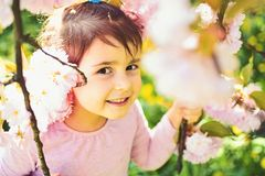 Summer girl fashion. childhood. Springtime. weather forecast. face and skincare. allergy to flowers. Small child stock photos
