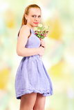 Summer girl flowers royalty free stock photos