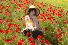 Summer girl on flowers Royalty Free Stock Image