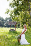 Summer  girl with flowers in white dress Stock Photography