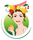 Summer girl with fruits. Smiling girl with summer fruits wreath Stock Image