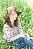 Summer girl in a garden Stock Photo