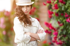 Summer girl in garden Royalty Free Stock Photos