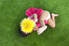 Summer Girl with gerbera flower Royalty Free Stock Photography