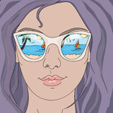 summer girl in glasses. Beautiful summer girl in glasses Royalty Free Stock Photos