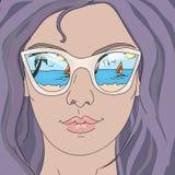 Summer girl in glasses. Beautiful summer girl in glasses vector illustration