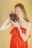 Summer girl with grapes Royalty Free Stock Photo