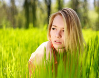 Summer girl in green grass Stock Photos