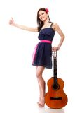 Summer girl with guitar shows thumb up isolated Royalty Free Stock Image