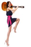 Summer girl with guitar on white background Stock Images