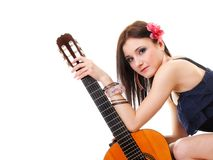 Summer girl with guitar on white background Royalty Free Stock Image