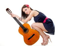 Summer girl with guitar on white background Stock Image
