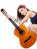 Summer girl with guitar on white background Royalty Free Stock Photos